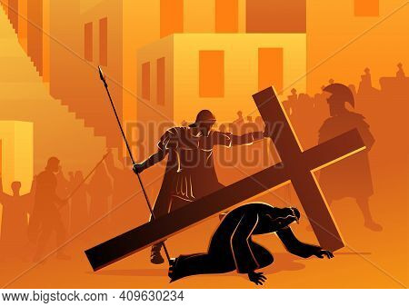 Biblical Vector Illustration Series. Way Of The Cross Or Stations Of The Cross, Seventh Station, Jes