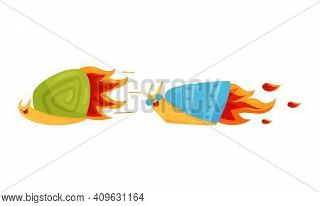 Fast Snail With Spiral Shell Having Rocket Turbine Or Speed Booster Vector Set