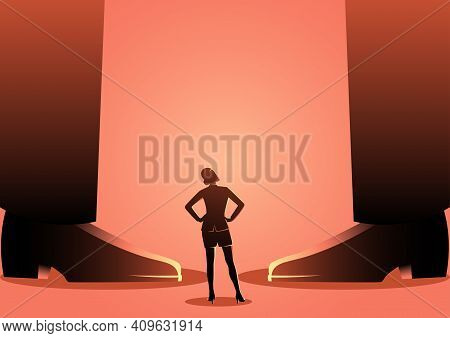 Conceptual Vector Of A Business Woman Standing Between Giant Men's Legs. Authority, Gender Issue In