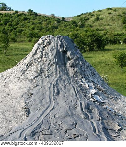 Mud Volcano Flowing Down Clayey Mud Mixed With Hydrocarbons. Natural Reserve Salse Of Nirano: Modena