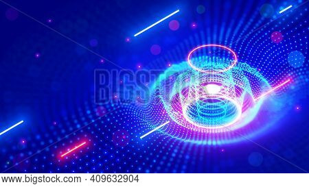 Abstract Sound Wave. Neon Music Tech Background In Nightclub. Equalizer Visualizes Music Waves In Te