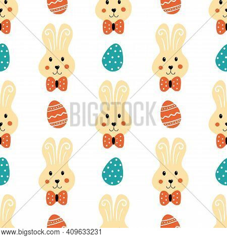 Easter Bunnies Characters And Decorated Eggs Cartoon Style Vector Seamless Pattern Background For Ea