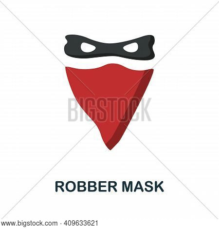 Robber Mask Flat Icon. Color Simple Element From Wild West Collection. Creative Robber Mask Icon For