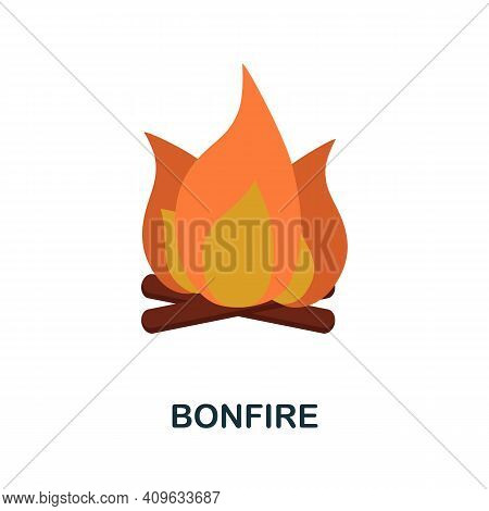 Bonfire Flat Icon. Color Simple Element From Wild West Collection. Creative Bonfire Icon For Web Des