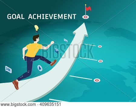 Goal Achievement Young Man Run Along The Directional Arrow On The Way To The Finish Line For Success