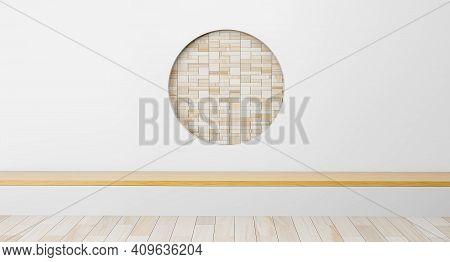 Scene Empty Room With Circle Ideas. Japanese Room Interior. Circle Shelf Wall Design Empty Living Ro