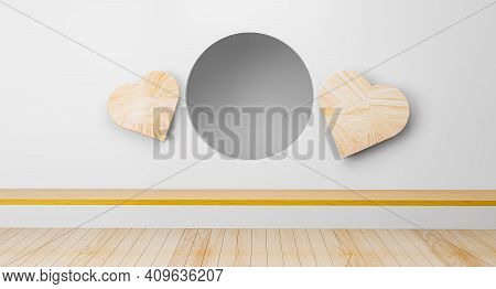 Scene Empty Room With Circle And Heart Wood Ideas. Japanese Room Interior. Circle Shelf Wall Design