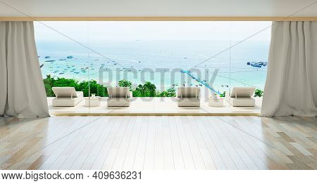 Minimal Luxury Beach House With Sea View On Terrace Modern Design, Sunbed Lounge Chairs On Deck At V
