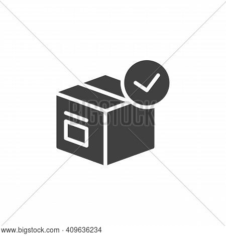 Delivered Parcel Box Vector Icon. Filled Flat Sign For Mobile Concept And Web Design. Cargo Box With