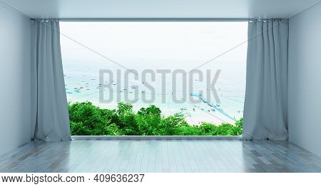 Minimal Luxury Beach House With Sea View From A Height On Terrace Modern Design, Empty White Room An