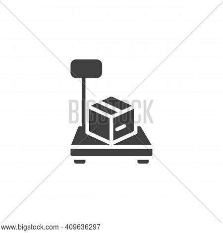 Parcel Weighing Vector Icon. Filled Flat Sign For Mobile Concept And Web Design. Cargo Scales With B
