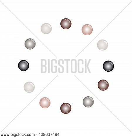 Beautiful Round Frame With Pearl Beads On A White Background. Vector Design Illustration. Design Of