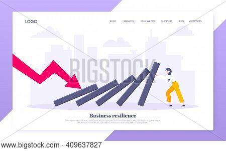 Domino Effect Or Business Resilience Metaphor Vector Illustration Website Concept. Adult Young Busin