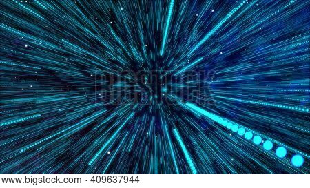 Abstract Simple Creative Cosmic Background. Hyper Jump Into Another Galaxy Star. Follow Speed Of Lig