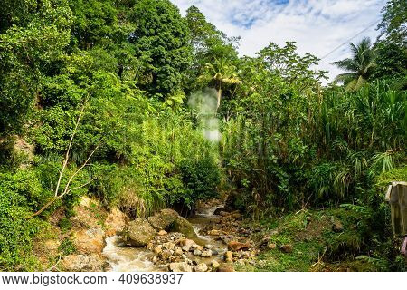 Landscape View On Trail To The Trafalgar Waterfalls. Morne Trois Pitons National Park, Unesco Herita