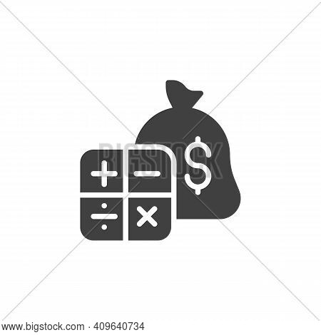 Budget Accounting Vector Icon. Money Bag And Calculator Filled Flat Sign For Mobile Concept And Web