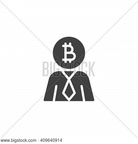 Bitcoin Investor Vector Icon. Filled Flat Sign For Mobile Concept And Web Design. Cryptocurrency Inv
