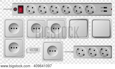 Socket, Switch And Extension Vector Outlet For Electric Plugs And Electricity Illustration. Set Of D