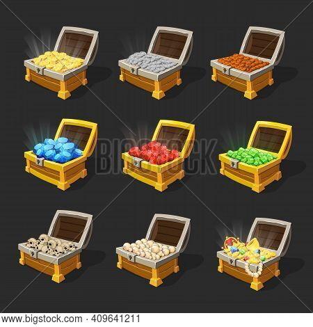 Isometric Treasure Chests Set With Coins Sapphires Rubies Emeralds Skulls Pearls And Jewelry Isolate