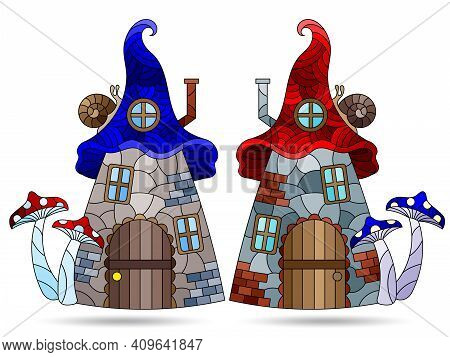A Set Of Illustrations In The Stained Glass Style With Dwarf Houses, Cozy Houses In The Form Of Mush