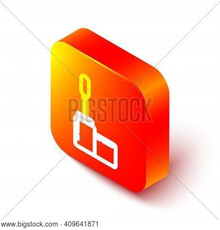 Isometric Line Mascara Brush Icon Isolated On White Background. Orange Square Button. Vector Illustr