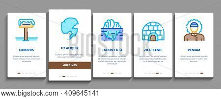 Arctic And Antarctic Onboarding Mobile App Page Screen Vector. Arctic Snow And Ice, Iceberg And Bear