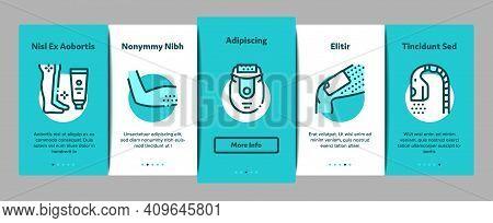 Depilation Procedure Onboarding Mobile App Page Screen Vector. Depilation Equipment Razor And Laser,