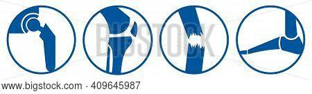 Orthopaedic Bone Part Icons Blue - Hip Knee Trauma Foot