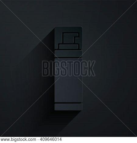 Paper Cut Shaving Gel Foam Icon Isolated On Black Background. Shaving Cream. Paper Art Style. Vector