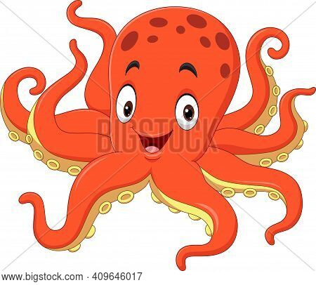 Vector Illustration Of Cute Octopus Cartoon On White Background