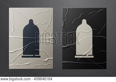 White Condom Safe Sex Icon Isolated On Crumpled Paper Background. Safe Love Symbol. Contraceptive Me