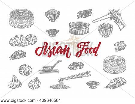 Sketch Asian Food Collection With Elements Of Chinese Japanese And Indonesian National Culture Isola