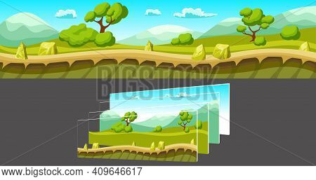 Cartoon Summer Landscape With Trees And Mountains And Separated Layers For Game On Grey Background V