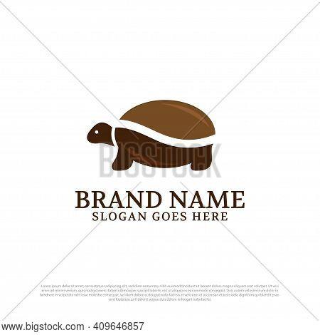 Slow Coffee Maker Logo Design Idea, Tortoise Coffee Bean Logo Premium Vector