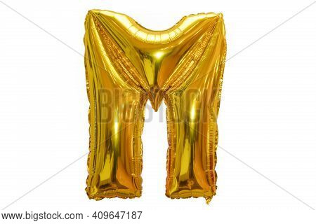 M Made Of Gold Balloons Isolated On White Background. English M From Gold Balloons Isolated On White