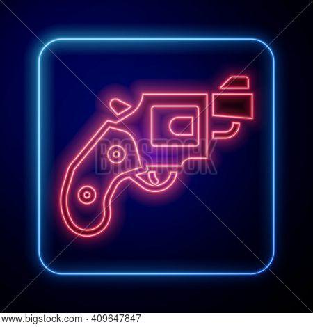 Glowing Neon Small Gun Revolver Icon Isolated On Blue Background. Pocket Pistol For Self-defense. La