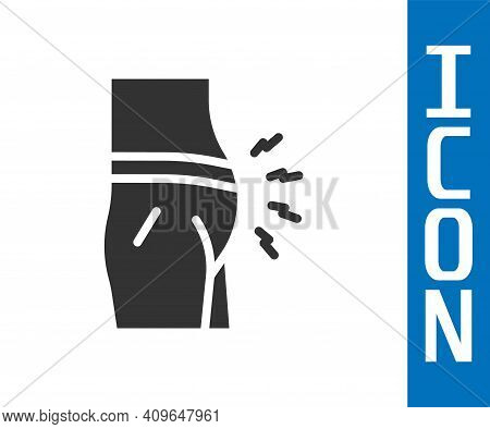 Grey Abdominal Bloating Icon Isolated On White Background. Constipation Or Diarrhea. Vector