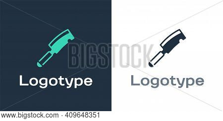 Logotype Meat Chopper Icon Isolated On White Background. Butcher Knife. Kitchen Knife For Meat. Butc