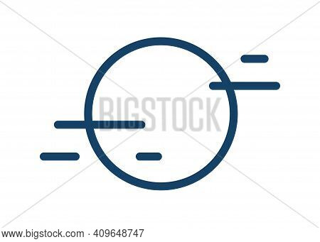 Simple Icon With Fog And Full Moon Or Sun Disk. Symbol Of Foggy Weather In Line Art Style. Linear Fl