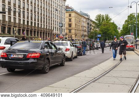 Vienna, Austria - May 16, 2019: This Is A Traffic Collapse On The Ring Avenue During The Strike Of T