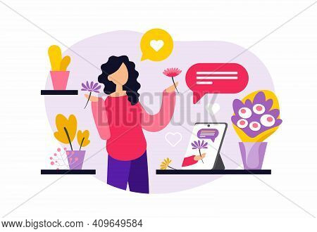Online Floristry Courses. Woman Watching Training Video. Vector Illustration