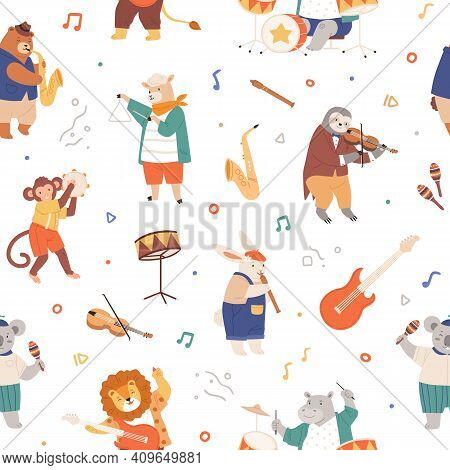 Seamless Pattern With Animal Musicians. Cute Kids Characters Playing Music On Guitar, Violin, Fife,