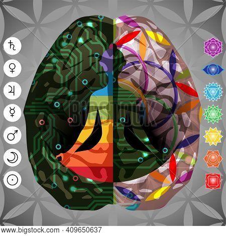 Meditating Yoga Girl Looking For Balance Of Brain Hemispheres.