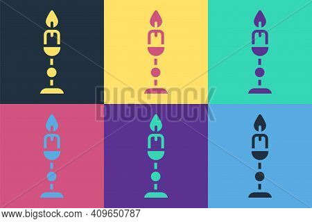 Pop Art Burning Candle In Candlestick Icon Isolated On Color Background. Old Fashioned Lit Candle. C