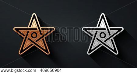 Gold And Silver Pentagram Icon Isolated On Black Background. Magic Occult Star Symbol. Long Shadow S