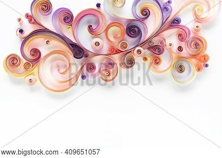 Quilling Paper Abstract Floral Background Top View With Copy Space. Filigree Paper Hobby. Quilling P