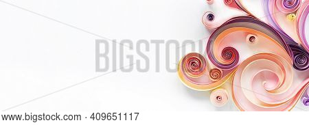 Quilling Paper Art Long Banner On White Background With Copy Space. Filigree Paper Hobby Header. Ele