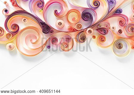 Quilling Paper Abstract Background With Copy Space. Filigree Paper Floral Banner. Hobby Concept. Str