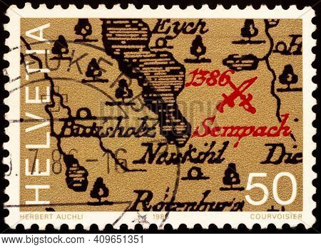Moscow, Russia - February 20, 2021: Stamp Printed In Switzerland Shows Map With Location Of The Batt