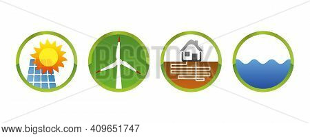 Solar Power Wind Power Geothermal Hydropower Green Energy Vector Icons